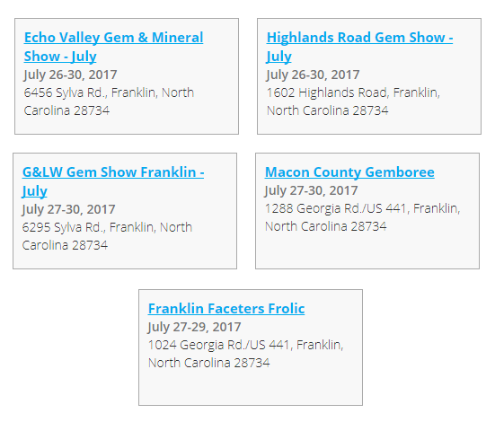 SAVE THE DATES!  Franklin Gem & Mineral Showcase
