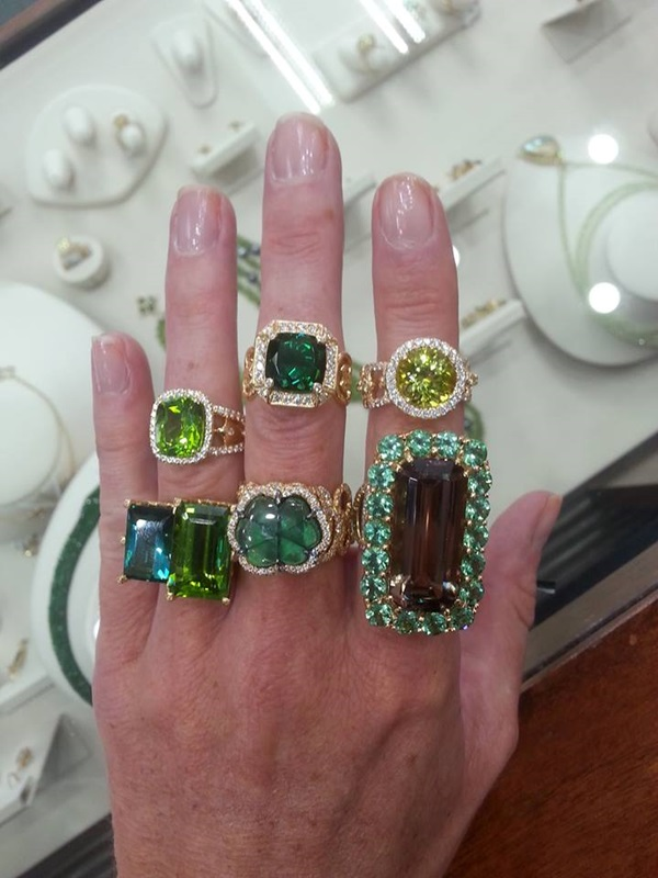 The only place to see finished jewelry at the AGTA Gemfair is also in the Design Pavilion - Erica Courtney shows off her latest designs   #ShowMeYourRings