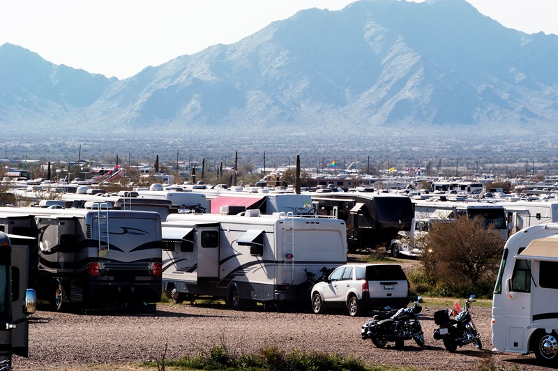 """The Quartzsite, Arizona, rock and mineral shows and swapmeets draw thousands of RVers (called """"boondockers') to the area every January and February."""