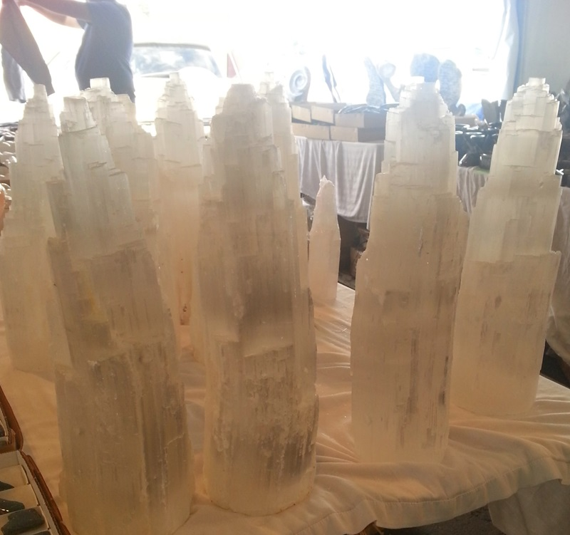 Tents in the parking lot housed these stunning Selenite Towers at the Colorado Mineral & Fossil Fall Show in the Crown Plaza Hotel. Denver Shows      Photos: Robyn Hawk