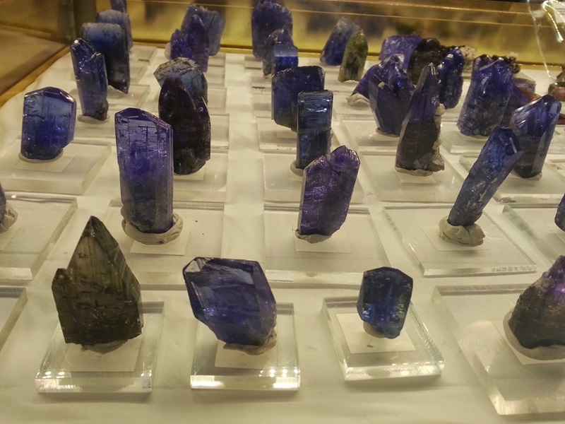 Tantalizing Tanzanite crystals among  booth after booth filled with Crystals of every color at the JG&M Expo Denver/Quality Inn Central Denver Shows   Photos: Robyn Hawk