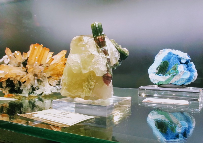 Fabulous Multi-Color Tourmaline perched on Quartz from Bergmann Minerals at the Fine Mineral Show in the Denver Marriott West. Denver Shows, Photos: Robyn Hawk