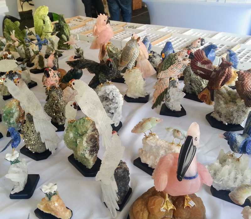 Gems aren't always about jewelry - there was a flock of birds of every kind made of rose quartz, onyx, and jaspers at the Colorado Mineral & Fossil Fall Show in the Crown Plaza Hotel. Denver Shows     Photos: Robyn Hawk