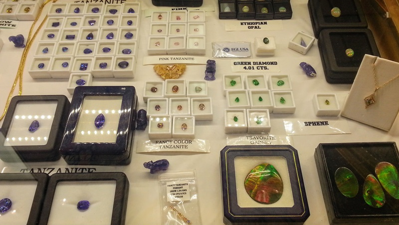 An amazing selection of gems from New Era - carved, faceted and cabochon at the JG&M Expo Denver/Quality Inn Central Denver Shows     Photos: Robyn Hawk