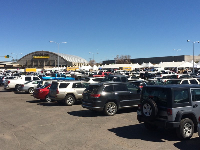 West side of the Coliseum with tons of parking