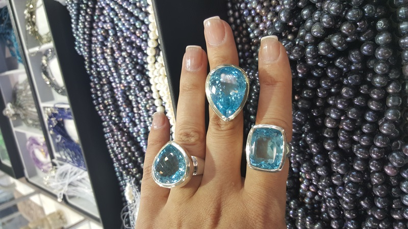 There are so many beautiful fashion pieces at the show! Blue Topaz is a very popular stone.