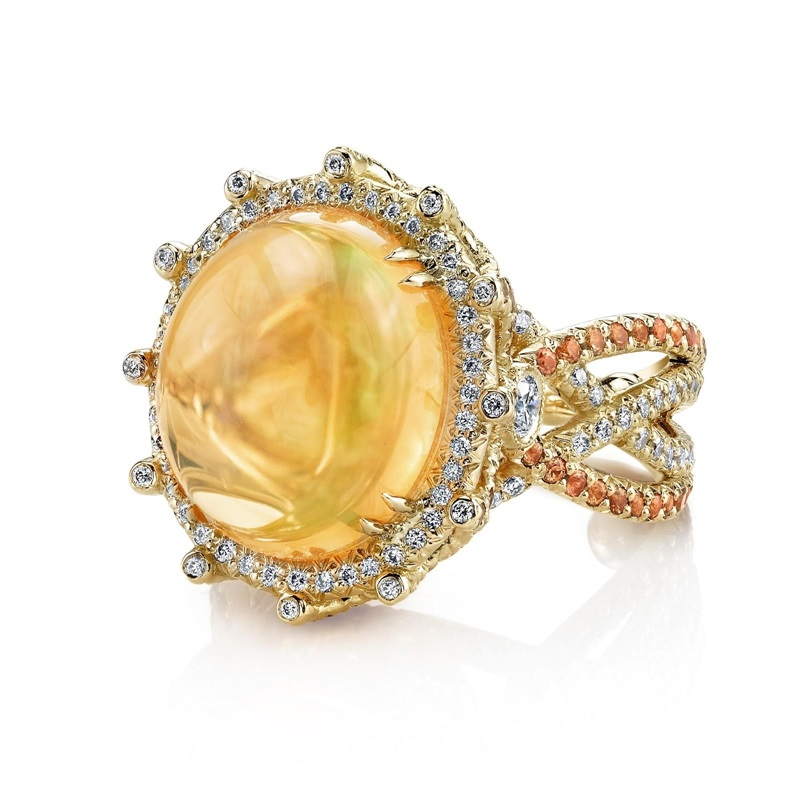 Fire Opal Crossover ring from Erica Courtney, Inc.